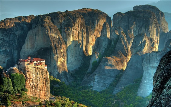 Wallpaper Rocks mountains, house