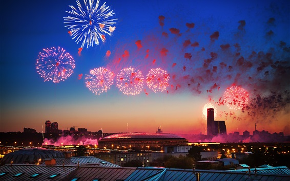 Wallpaper Russia, May 9, Victory Day, Moscow, fireworks, night, city