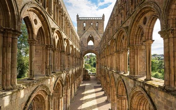 배경 화면 스코틀랜드, 건축물, 유적, 수도원