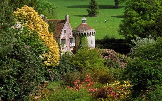 Wallpaper Scotney Castle, England, trees, flowers, grass