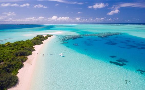 Papéis de Parede Mar, barcos, praia, ilhas, trópicos, Maldivas