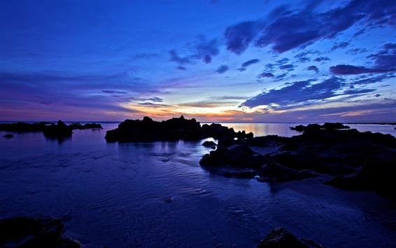 Wallpaper Sea, coast, rocks, clouds, sunset, dusk