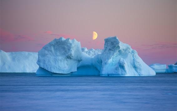 Fond d'écran Mer, iceberg, lune, crépuscule