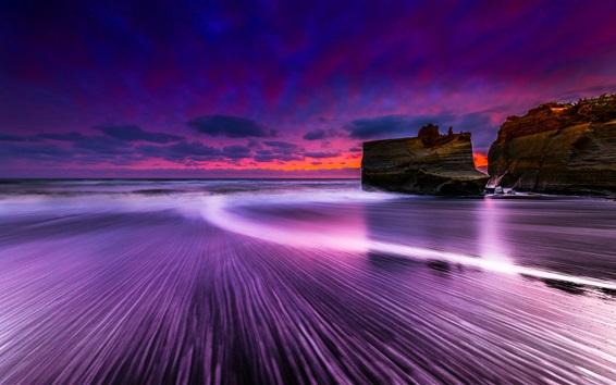 Fond d'écran Mer, roches, ciel, nuages, crépuscule, coucher de soleil