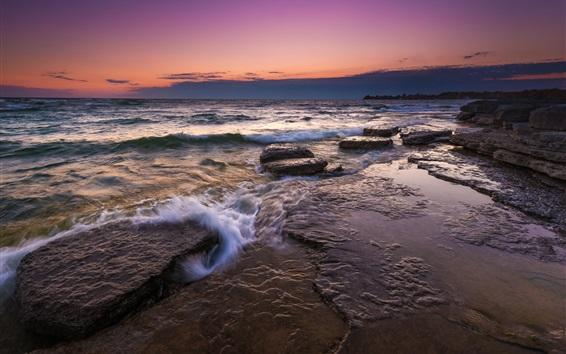 Wallpaper Sea, rocks, stream, morning