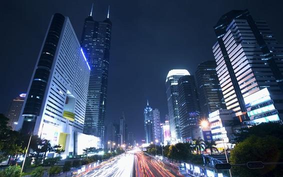 Fondos de pantalla Shenzhen, noche de la ciudad, rascacielos, carretera, luces, China