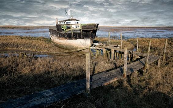 Обои Корабль, озеро, мост