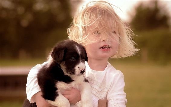 Wallpaper Short hair child girl and puppy