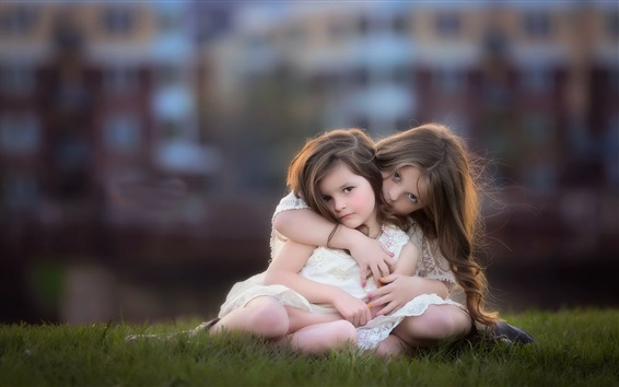 Обои Сестры, милый ребенок, маленькие девочки