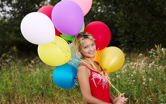Wallpaper Smile blonde girl, colorful balloons