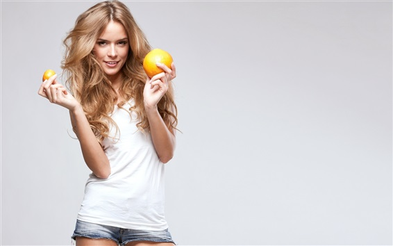 Wallpaper Smile blonde girl, oranges
