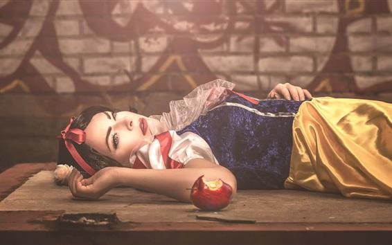 Papéis de Parede Neve branca, conto de fadas, maçã