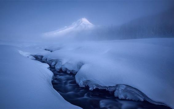 Обои Снег, зима, горы, река, холод