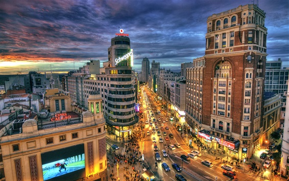 Wallpaper Spain, Madrid, city street, road, buildings, night, lights