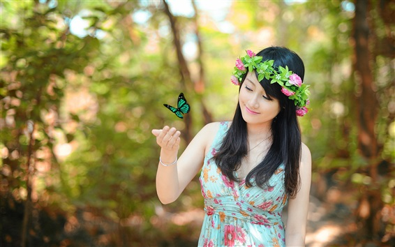 Wallpaper Spring Asian girl smile, butterfly, rose flowers