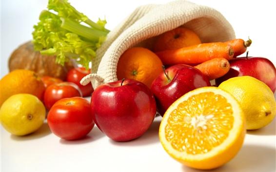 Wallpaper Still life, oranges, apples, lemon, tomatoes, carrots