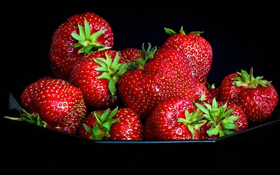 Wallpaper Strawberries, delicious fruit, black background