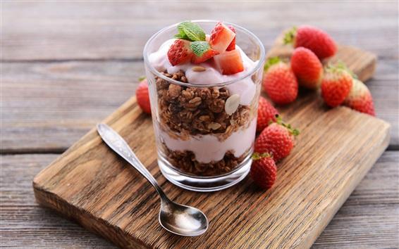 Wallpaper Strawberry, yogurt, nuts, dessert