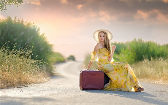 Wallpaper Summer dress blonde girl, hat, suitcases, road, sun