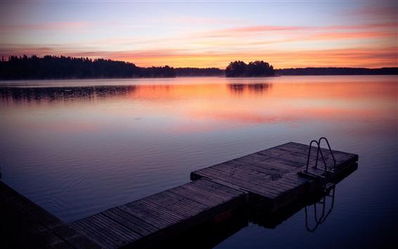 Papéis de Parede Pôr do sol, lago, doca