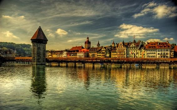 Wallpaper Switzerland, Lucerne, bridge, river, houses