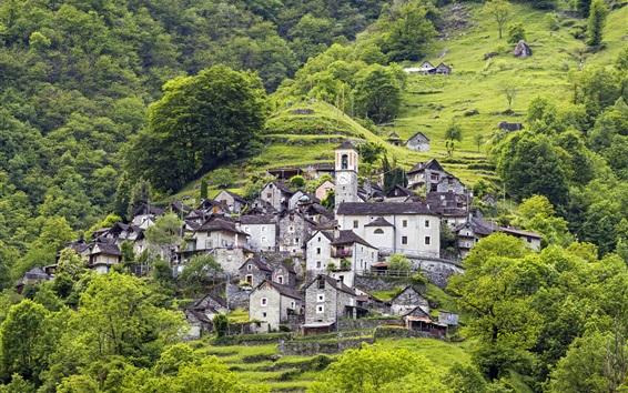 Fondos de pantalla Suiza, ladera, montaña, casas, árboles