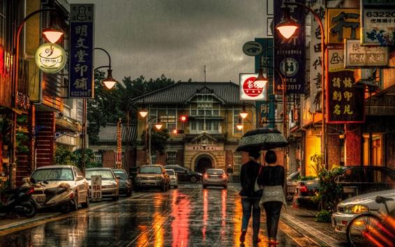 Wallpaper Taiwan, city, street, stores, rainy