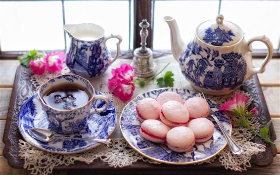 Wallpaper Tea, flowers, cookies