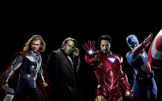 Wallpaper The Avengers, superheroes, black background