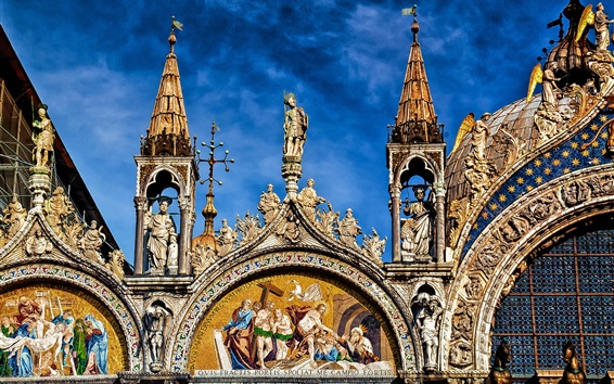 Wallpaper The Cathedral Of St. Mark, front view, Italy, Venice