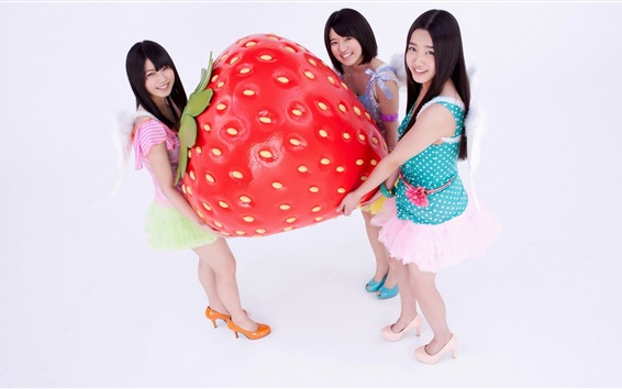 Wallpaper Three Asian girls and big strawberry