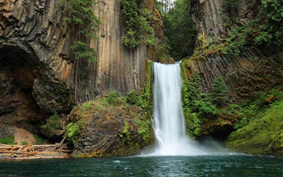 Обои Водопады Токетей, скалы, водопад, скала, США, Орегон