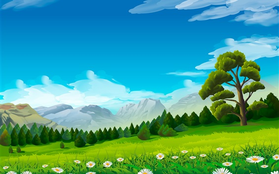 Wallpaper Trees, chamomile, grass, mountains, vector picture