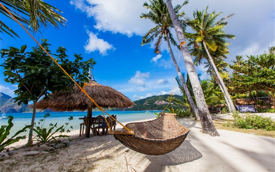 Wallpaper Tropics, palm trees, beach, coast, hammock, blue sky