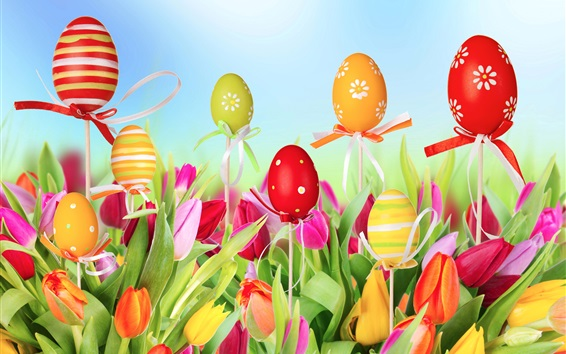 Wallpaper Tulips field, flowers, colorful eggs, Easter