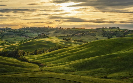 Wallpaper Tuscany, Italy, hills, green, trees, clouds, sunset