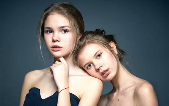 Wallpaper Two girls, twins