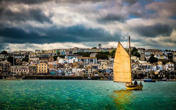 Papéis de Parede Reino Unido, Cornwall, Falmouth Harbour, veleiro, barcos, rio, casas