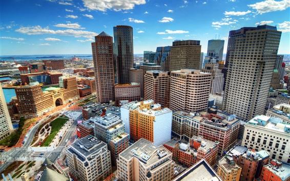 Fondos de pantalla EE.UU., Boston, rascacielos, vista superior, ciudad