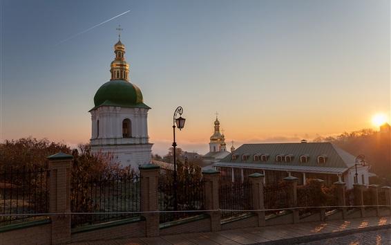 Fond d'écran Ukraine, aube, rue, église, monastère, lever du soleil