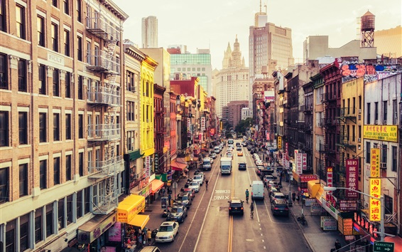 Wallpaper United States, New York, Manhattan, East Broadway, Chinatown, street, city
