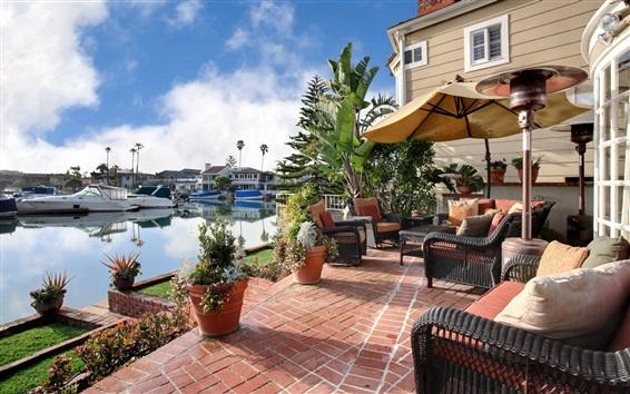 Wallpaper Villa, lake, yacht