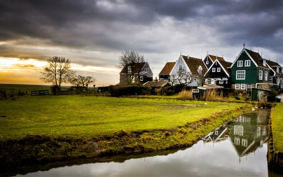 Wallpaper Water, river, meadow, houses, trees, dusk