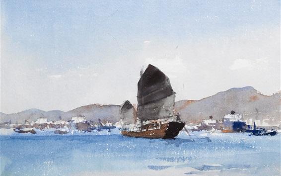 Papéis de Parede Pintura de aquarela, seascape, barco