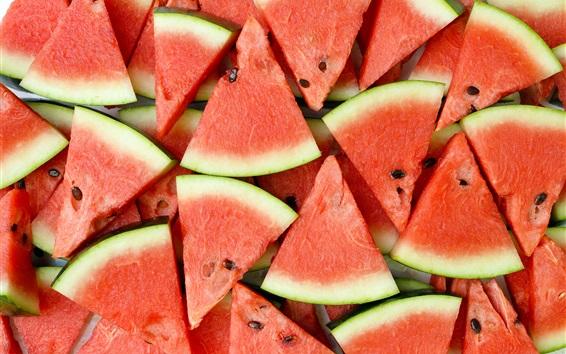 Fondos de pantalla Rebanada de sandía, fruta jugosa de verano