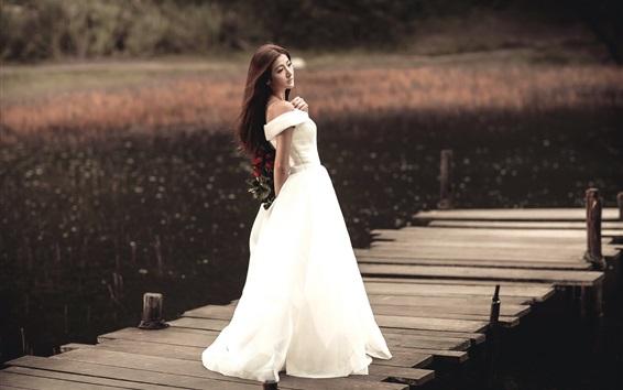 Wallpaper White dress Asian girl, long hair, back view, pier