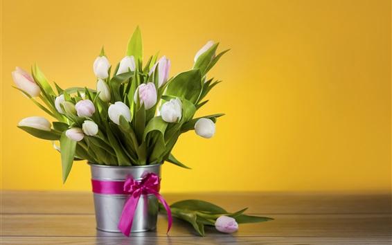 Wallpaper White tulips, bouquet