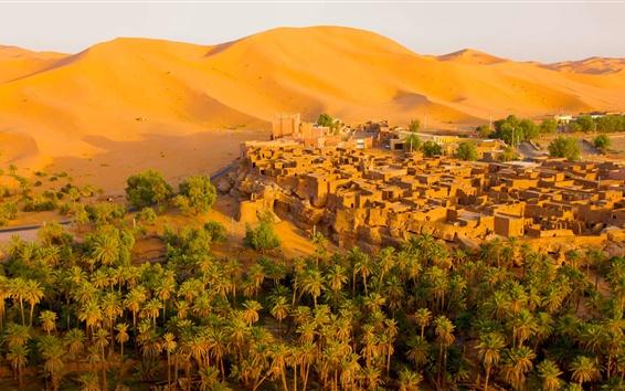 Wallpaper Algeria, Oasis, desert, city, trees