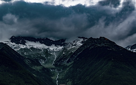 Wallpaper Alps, mountains, fog, clouds, creek, Italy nature landscape