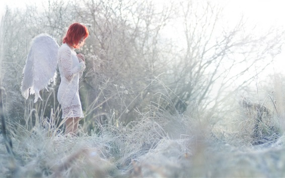 Wallpaper Angel girl, red hair, grass, winter